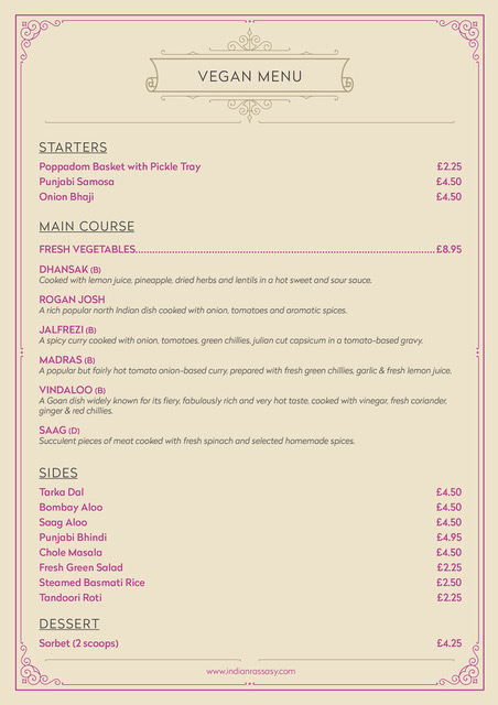 Indian Rassasy Restaurant And Takeaway Bristol Menu